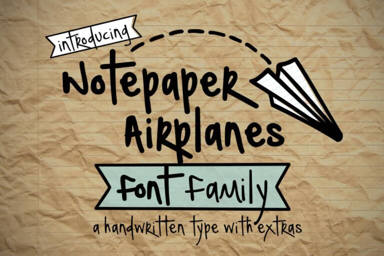 notepaper airplanes font family featured image